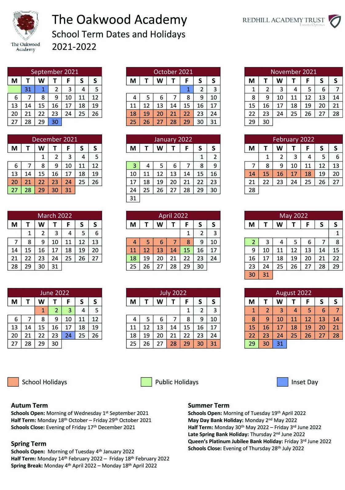 The Oakwood Academy term dates